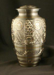 golden pewter urn